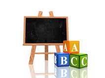 Blackboard with abc cubes Royalty Free Stock Image