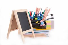 Blackboard and accessories Stock Photos