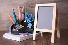 Blackboard and accessories Royalty Free Stock Image