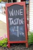 Blackboard advertising wine tastings Stock Image