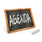 Blackboard Agenda. A Colourful 3d Rendered Concept Illustration showing Agenda writen on a Blackboard with white chalk Stock Images
