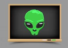 Blackboard alien lesson Royalty Free Stock Images