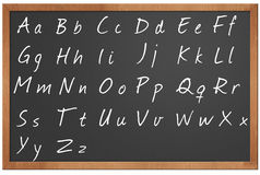 Blackboard alphabet illustration. Alphabet written in chalk on a blackboard illustration stock illustration