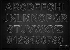 Blackboard with alphabet letters. Drawing with chalk vector illustration