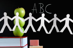 Blackboard and apples Royalty Free Stock Images