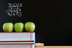 Blackboard and apples. Blackboard with apples and books showing a concept for education Royalty Free Stock Photo