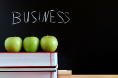 Blackboard and apples Royalty Free Stock Photos