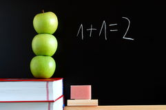 Blackboard and apples Stock Photography