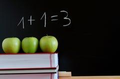 Blackboard and apples Stock Photo