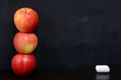 Blackboard and Apples Stock Image