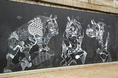 Blackboard Artwork (Rhinos) of Philipe Baudelocque Stock Photography