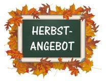 Blackboard Autumn Foliage Herbstangebot Royalty Free Stock Image