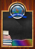 Blackboard with Back to School Clock Royalty Free Stock Photos