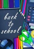 Blackboard back to school and supplies for school royalty free stock images