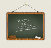 Blackboard back to school wood frame green Royalty Free Stock Photos