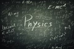 Physics formulas stock image