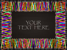Blackboard background with colored pencil rectangular frame. Vector royalty free illustration