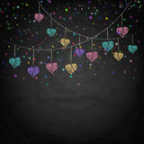 Blackboard background with drawing bunting hearts