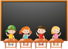 Blackboard background with kids in classroom Royalty Free Stock Image