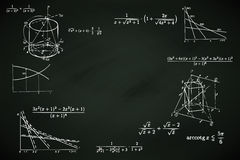Blackboard background with mathematic writings  illustration Royalty Free Stock Image