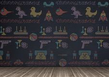 Blackboard background with toys graphics. Digital composite of blackboard background with toys graphics Stock Photos