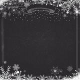 Blackboard background with winter snow and snowflakes Royalty Free Stock Photos