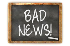 Blackboard Bad News. A Colourful 3d Rendered Concept Illustration showing BAD NEWS writen on a Blackboard with white chalk Royalty Free Stock Photography