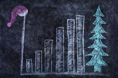 Blackboard with bar chart and santa hat Stock Photos