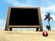 Blackboard at the beach - 3D render Royalty Free Stock Image