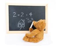 Blackboard and bear stock image