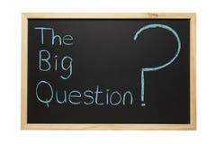 Blackboard The Big Question. Blackboard with the words The Big Question and a big question mark Stock Image