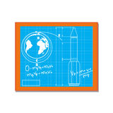 Blackboard with blueprint drawings cartoon vector Stock Images