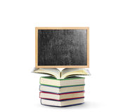 Blackboard on book  with wooden frame Royalty Free Stock Photos