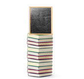 Blackboard on book  with wooden frame Royalty Free Stock Photography