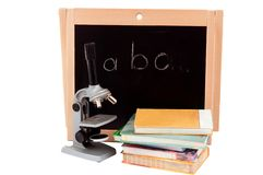 Blackboard with books Stock Photography