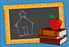 Blackboard, Books, Apple, Schoolhouse. Back to the school house chalk drawing on  blackboard with books, ruler and an apple for the teacher! Stack of books for Stock Photos
