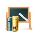 Blackboard and books isolated on white Royalty Free Stock Photography