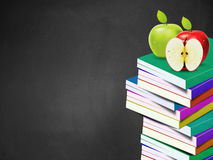 Blackboard and books Royalty Free Stock Photos