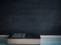 Blackboard and books. Blackboard and books , on the table in the classroom Stock Photos