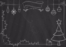 Blackboard border and background with christmas drawing Stock Photography