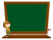 A blackboard with a boy playing golf. Illustration of a blackboard with a boy playing golf on a white background Stock Photo