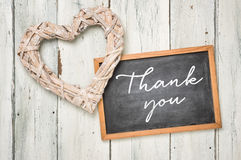 Blackboard with braided heart - Thank you Royalty Free Stock Photos