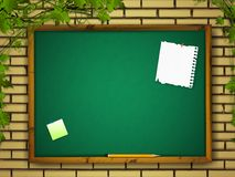 Blackboard at brick wall Royalty Free Stock Photo