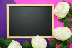 Blackboard and bunch of peony flower on pink and purple background flat lay royalty free stock photos