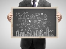 Blackboard with business concept stock photography