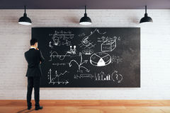 Blackboard with business sketch Stock Photos