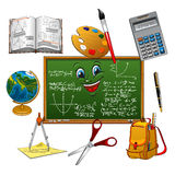 Blackboard cartoon character with school supplies Stock Photos