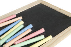 Blackboard and chalk Royalty Free Stock Photography