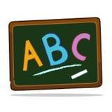 Blackboard with chalk alphabets. Vector illustration of a blackboard with alphabets abc Stock Photo