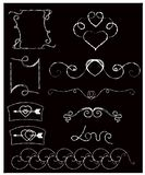 Blackboard and chalk. Doodle style. vector Collection of hand drawn vintage swirl ornaments with heart. vector illustration